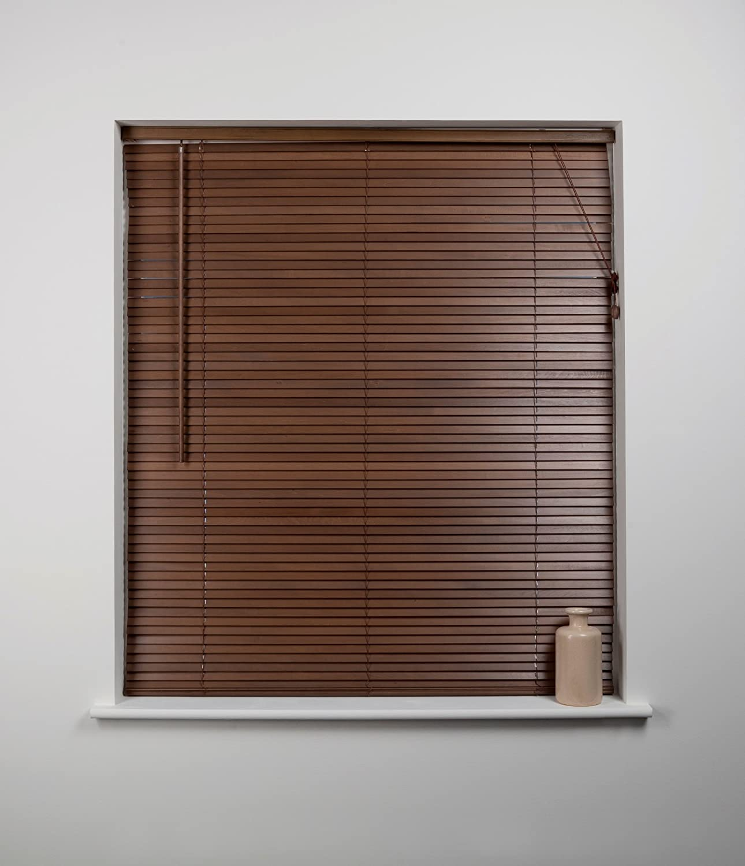 27mm Wood Venetian Blind, Walnut, 180cm Wide x 160cm Drop Sunflex