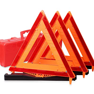CARTMAN Warning Triangle DOT Approved 3PK, Identical to: United States FMVSS 571.125, Reflective Warning Road Safety Triangle Kit: Automotive