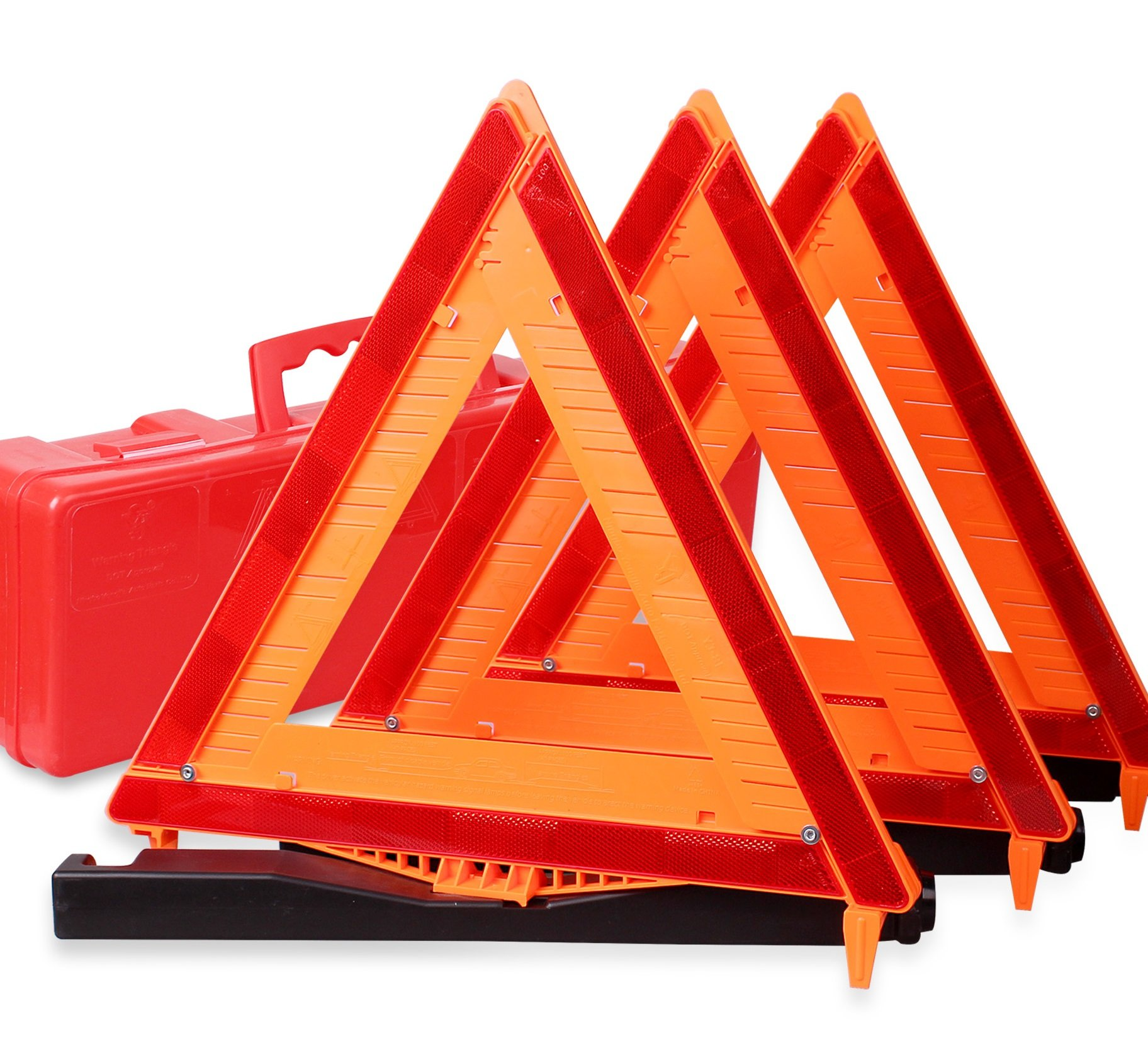 CARTMAN Warning Triangle DOT Approved 3PK, Identical to: United States FMVSS 571.125, Reflective Warning Road Safety Triangle Kit by CARTMAN