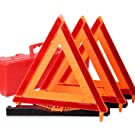 CARTMAN Warning Triangle DOT Approved 3PK, Identical To: United States FMVSS 571.125, Reflective Warning Road Safety Triangle Kit