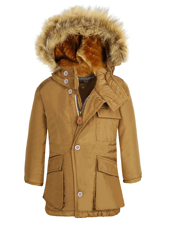 e87fceb63 Amazon.com: SeaDee Boy's Winter Coats Insulated Jackets With Fleece Lined  Hood (Navy&Khiki) SWISSWELL: Clothing