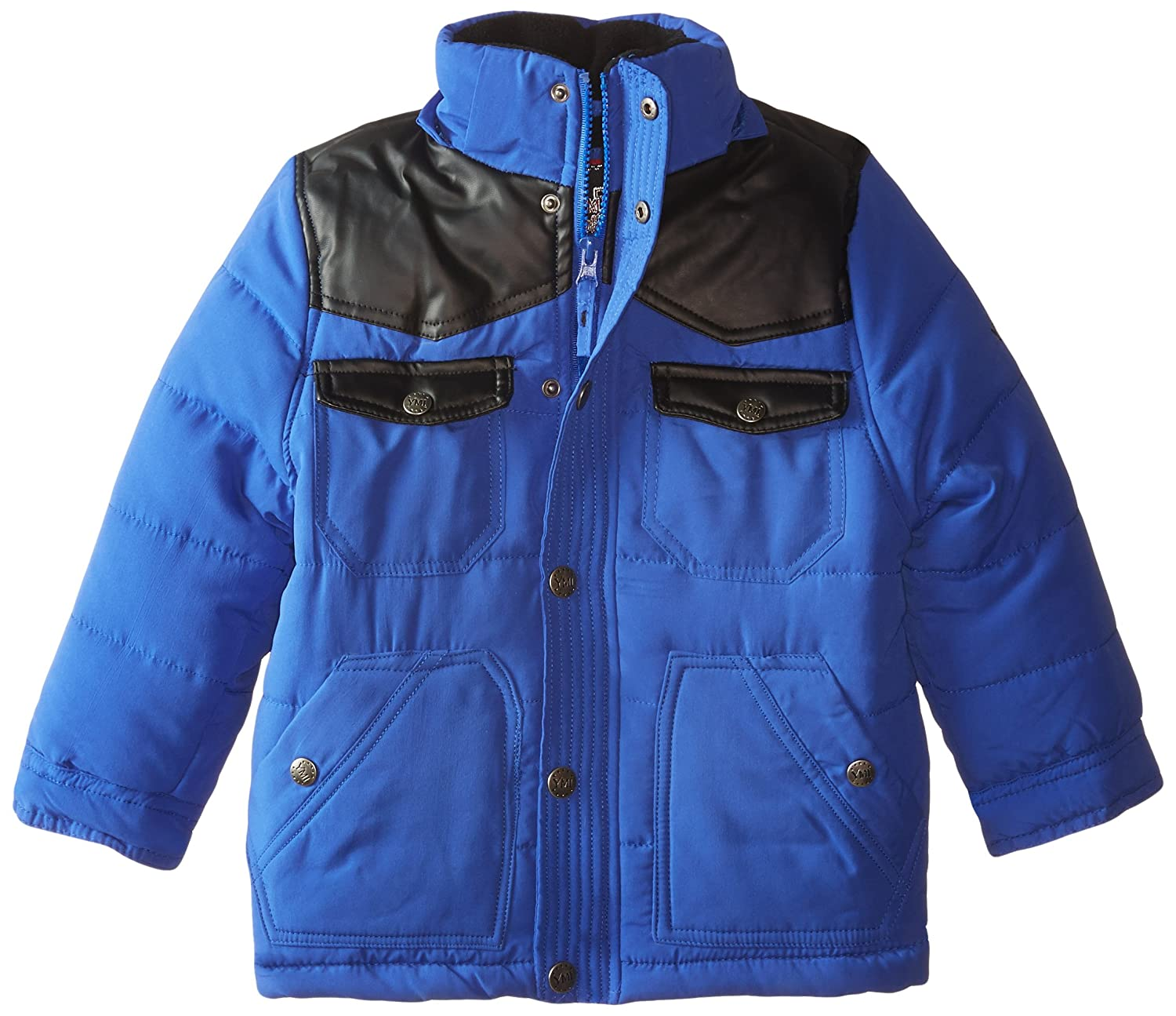 YMI Boys Bubble Jacket with Contrasting Pleather Yoke and Detachable Hood YMI Boys 2-7 1355TG