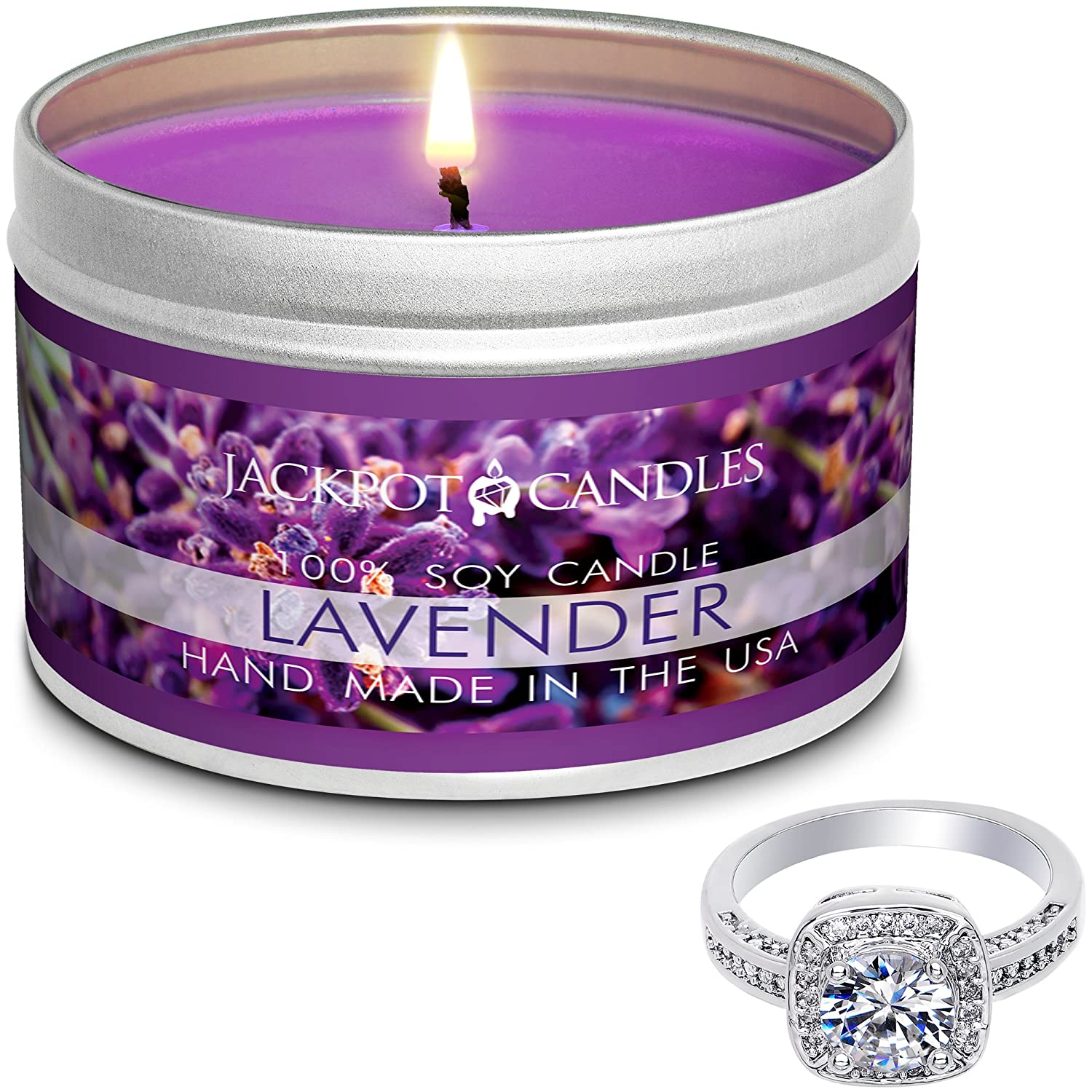Jackpot Candles Surprise Size Ring Lavender Jewelry Candle Travel Tin TIN-330-RNG-SURPRISE