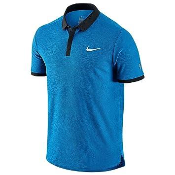 low priced 9eccb e57fc Nike Advance Roger Federer Tennis Polo Shirt Mens Blue Top T-Shirt Tee Large