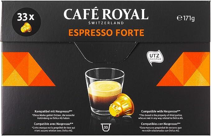 Café Royal Espresso Forte 33 Capsules Compatibles avec le Système Nespresso*, Intensité 8/10