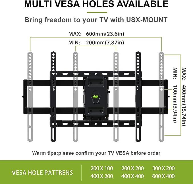 USX MOUNT XML006K - Soporte de pared giratorio para televisores de 42 a 70 pulgadas, LED, LCD, OLED, 4 K, compatible con televisores de 50, 55, 65 TV con VESA 200 x