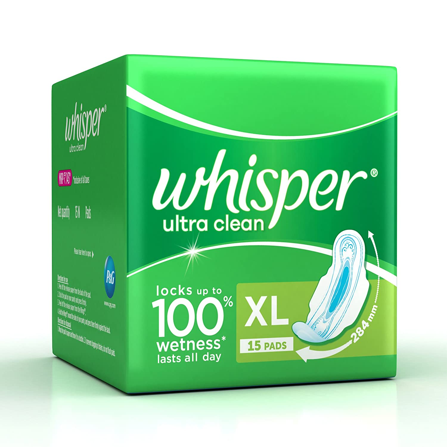 Buy Whisper Ultra Clean Sanitary Pads XL wings (15 Count) Online at ...