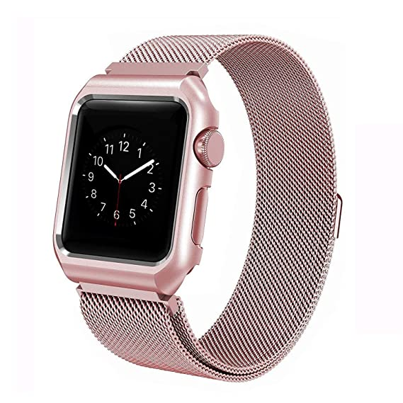 get cheap 74226 2f13a ANIYOH 38mm Apple Watch Band , Stainless Steel Milanese Loop with Metal  Protect Case Frame, Adjustable Replacement Strap with Magnetic Closure for  ...