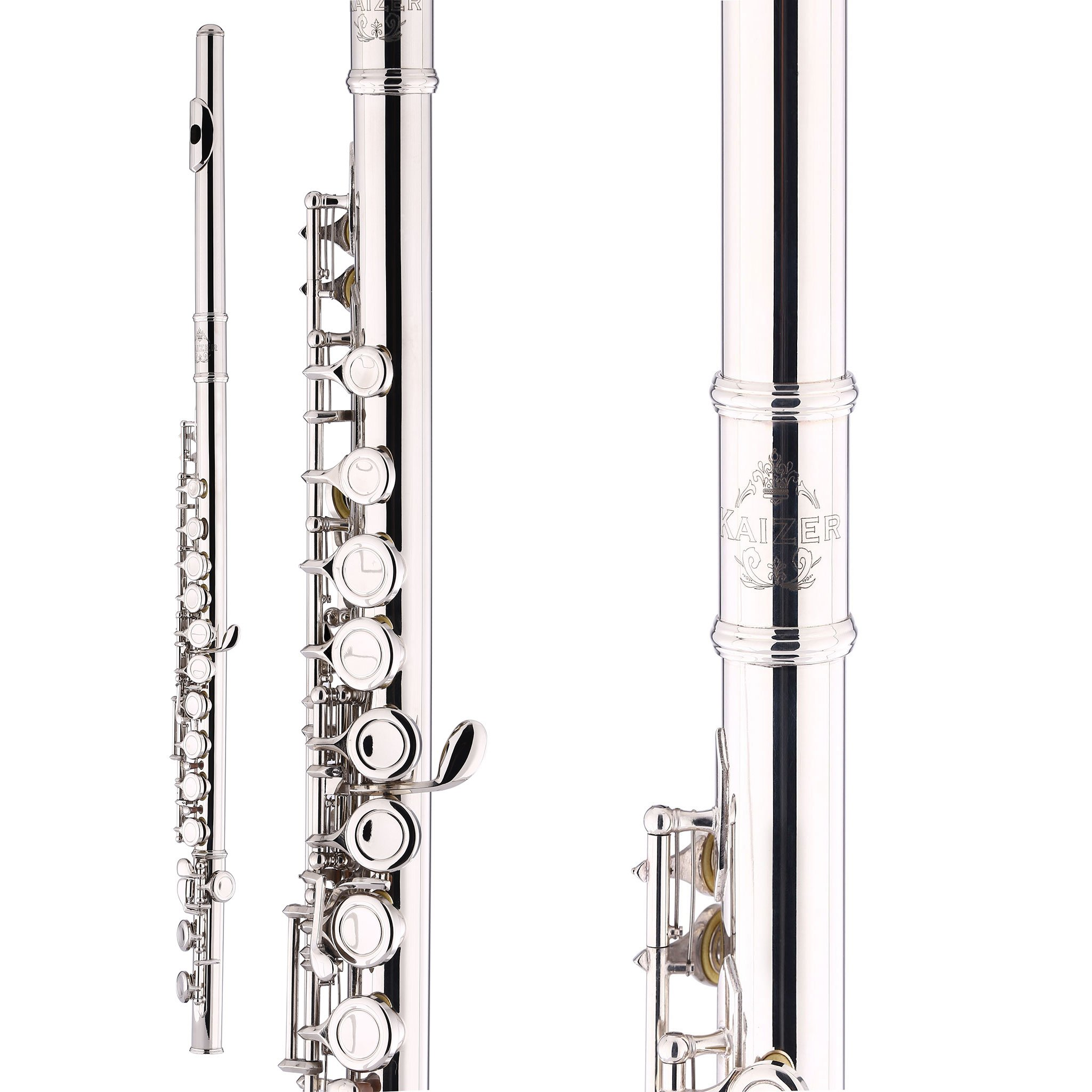 Kaizer Flute C Key 1000 Series Closed Hole Nickel Silver New 2018 Model Student Flute FLT-1500NK by Kaizer