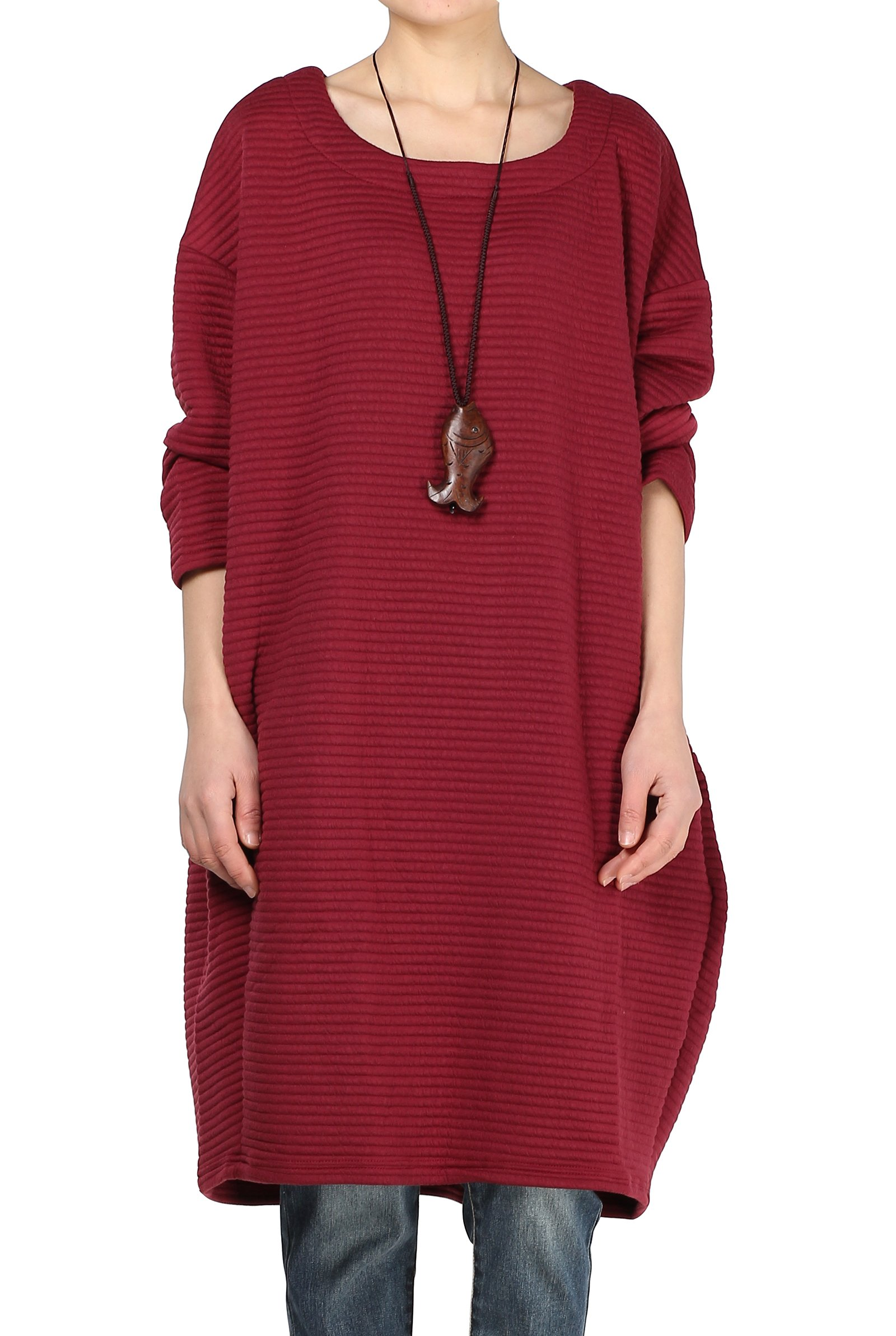 Mordenmiss Women's Loose Fit Bat Sleeve Basic Tops Dresses Style 1-Red