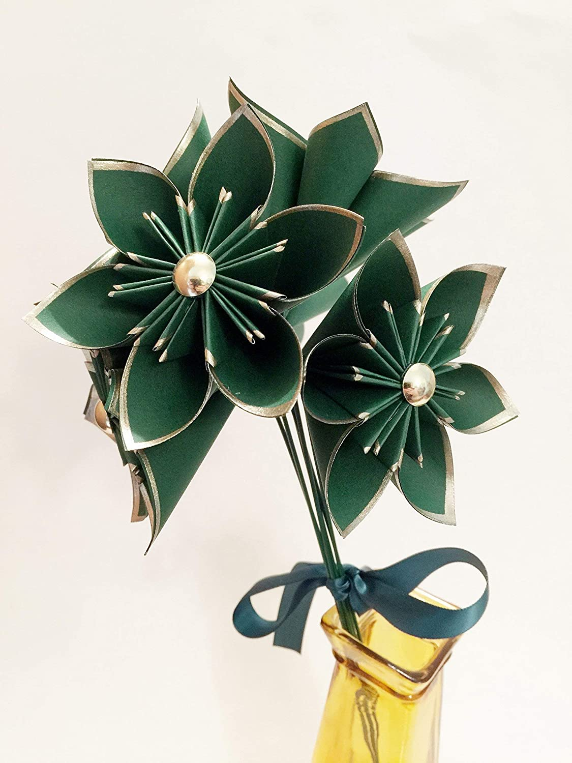 daisy wedding decor nursery origami Set of 6 Green /& Gold Paper Flowers small bouquet holiday decor traditional 1st anniversary gift home decor centerpiece