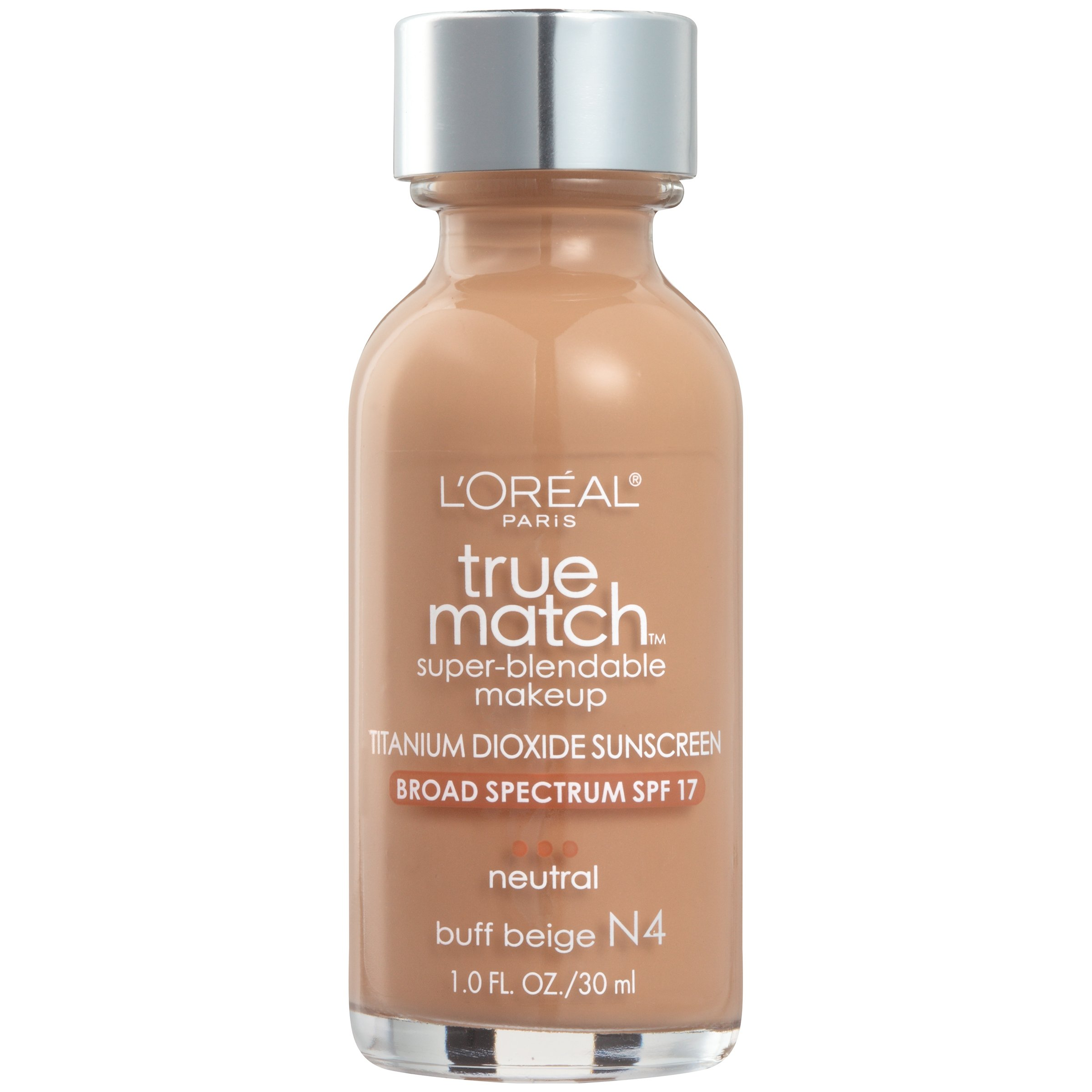 L'Oreal Paris Makeup True Match Super-Blendable Liquid Foundation, Buff Beige N4, 1 Fl Oz,1 Count