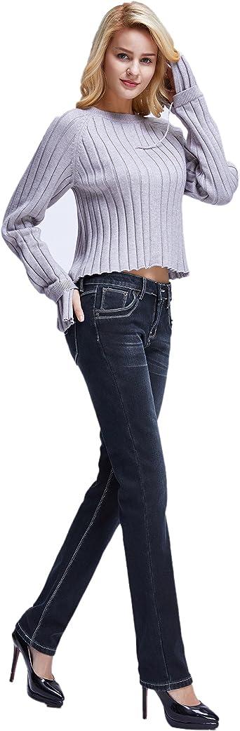 Camii Mia damskie dżinsy Slim Fit z podszewką z polaru, ze stretchu i szwem o niskiej gęstości na zimę, termiczne dżinsy: Odzież