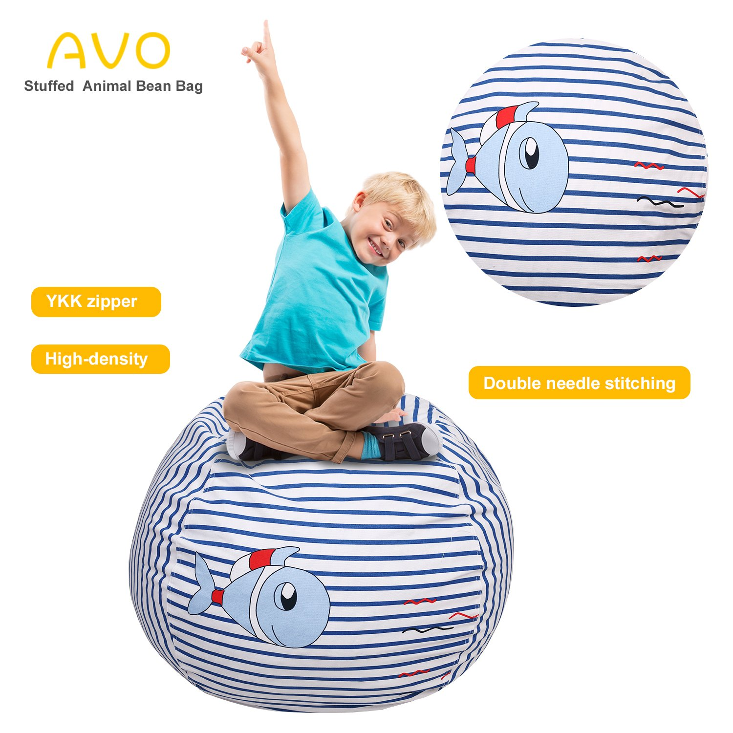 Extra-Large Stuffed Animal Storage Bean Bag-100% high-density(Kids Bean Bag 38'', fish) by AUO (Image #1)