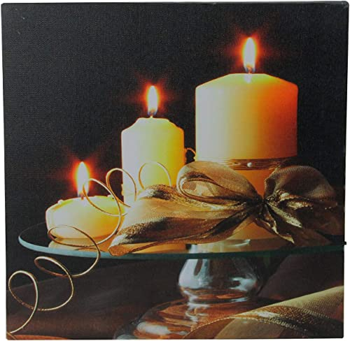 Northlight LED Lighted Flickering Candles and Leaves Canvas Wall Art 12 x 12