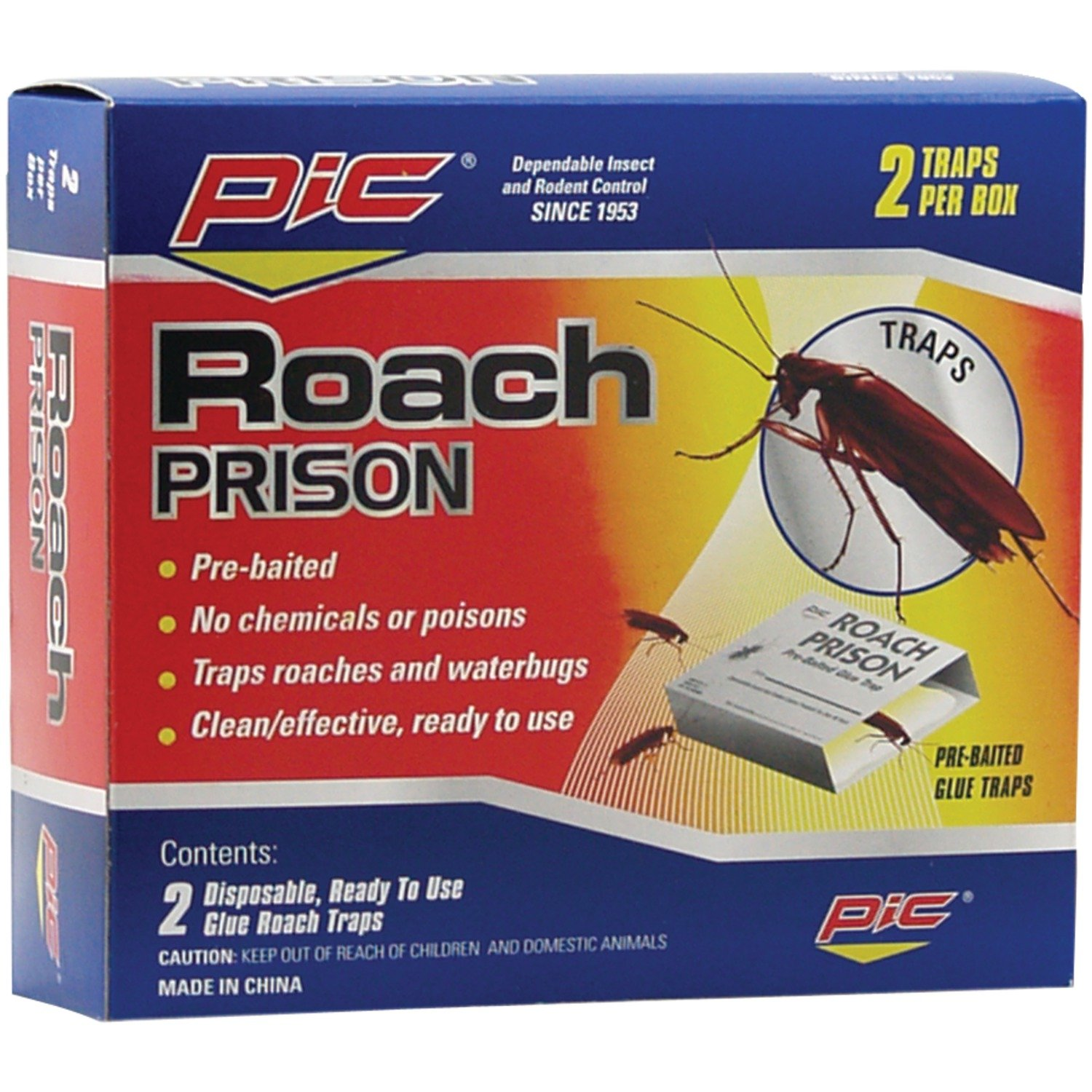 PIC Roach Prison Covered Insect Glue Traps (12 Pack of 2) by PIC