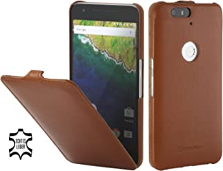 StilGut UltraSlim Case, Custodia in Pelle con Funzione On/off per Google Nexus 6P, Cognac