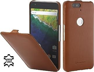 StilGut UltraSlim, Housse en Cuir avec Fonction Smart Cover pour Google Nexus 6P, en Cognac