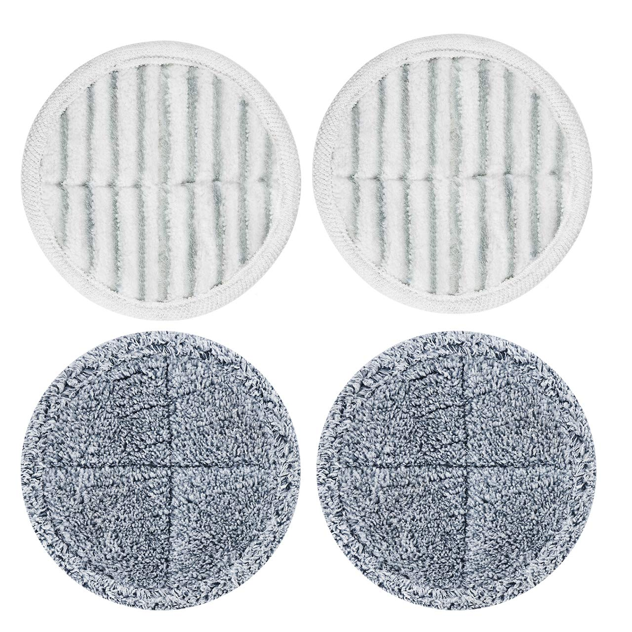 Homitt 4Pcs Replacement Mop Pads for Electric Spin Mop, Microfiber Washable Mop Pads for Cleaning Hardwood Floor and Tile, 2 Scrubby Pads and 2 Soft Pads by Homitt