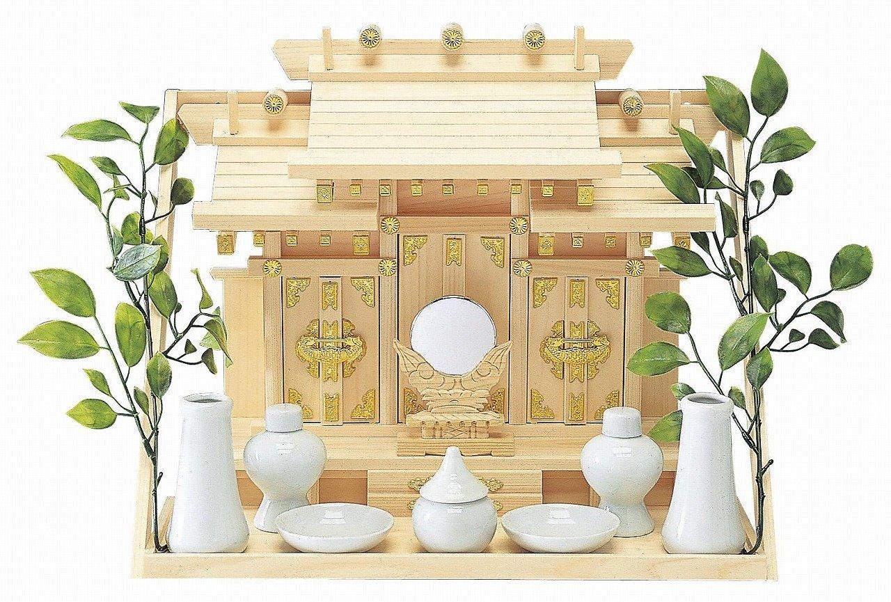 Japanese Home Shrine ''Kamidana'' Wall Hanging Type Shinden-set Made of Hinoki (Japan Import)