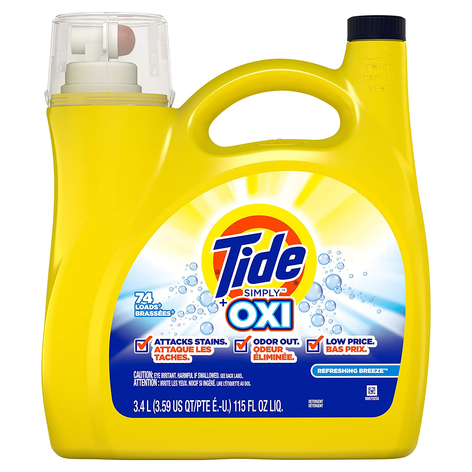 Tide Simply Oxi Liquid Laundry Detergent, Refreshing Breeze, 74 Loads 115 fl oz