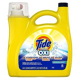 Tide Simply Oxi Liquid Laundry Detergent, Refreshing Breeze, 74 Loads 115 fl oz