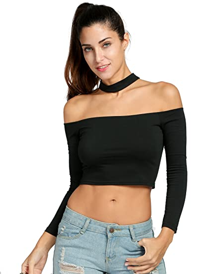 11b44ed70cf Women Sexy Slash Neck Long Sleeve Off Shoulder Hater Choker Crop Tops (Black,  Asian