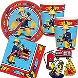 Amscan/Dekospass Sam le pompier Kit de fête d'anniversaire 37pièces comprenant 8assiettes en carton, 20serviettes, 8gobelets en carton et confettis XXL