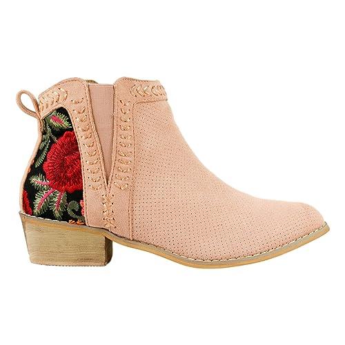 Botin de Mujer campero Primavera Verano 2019 con Bordado de Flores Material Perforado y pasados a Mano: Amazon.es: Zapatos y complementos