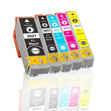 5 Cartuchos de impresora Epson T2621 BK, Photo black T2631 ...