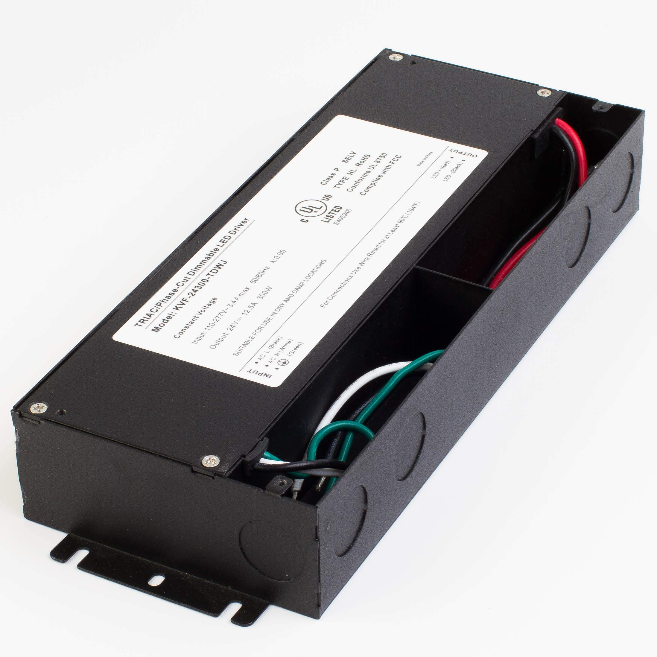 LEDupdates 24v UL Listed 300w Triac Dimmable Driver 110v - 277V AC to DC Transformer Constant Voltage Power Supply for LED Strip light Control by AC Wall Dimmer (24v 300w) by LEDUPDATES (Image #3)