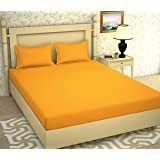 BROMWICK Prime Collection Bedsheets,Solid Plain Yellow Double bedsheet with 2 Pillow Covers