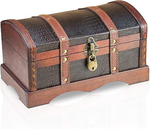 Brynnberg Caja de Madera - Croco 30x17x16cm - Cofre del Tesoro Pirata de Estilo Vintage - Hecha a Mano - Diseño Retro - joyero - con candado: Amazon.es: Hogar