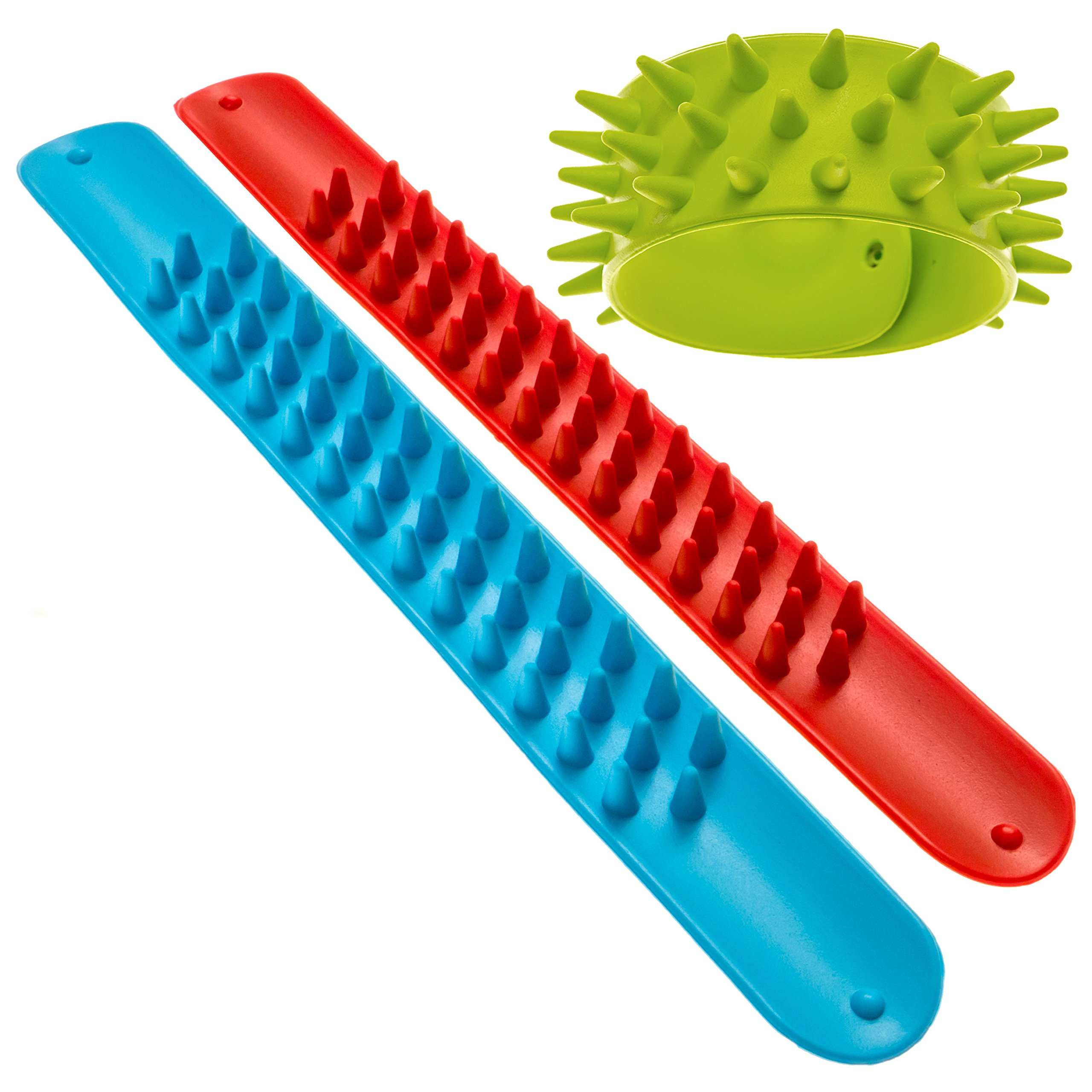 Spiky Slap Bracelets / Slap Bands (3 Pack) - Great Sensory Toys / Fidget Toys - BPA/Phthalate/Latex-Free by Impresa Products (Image #1)