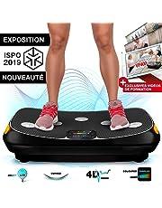 Sportstech VP400 Plateforme Vibrante Oscillante professionnelle Fitness avec technologie de vibration 4D, fréquence jusqu'à 40Hz avec design courbé, 2 puissants moteurs, télécommande intelligente, écran tactile