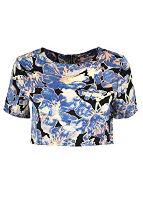 c81d150bbd0 LILY LULU Lily Floral Short Sleeve Crop Top (UK14, Blue): Amazon.co.uk:  Clothing