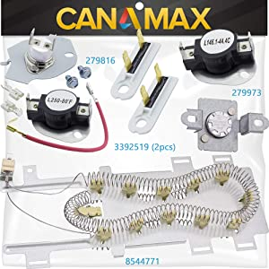 8544771 Dryer Heating Element, 279973 3392519 Thermal Fuse and 279816 Thermostat Dryer COMPLETE Kit Premium Replacement by Canamax - Compatible with Whirlpool and Kenmore Dryers