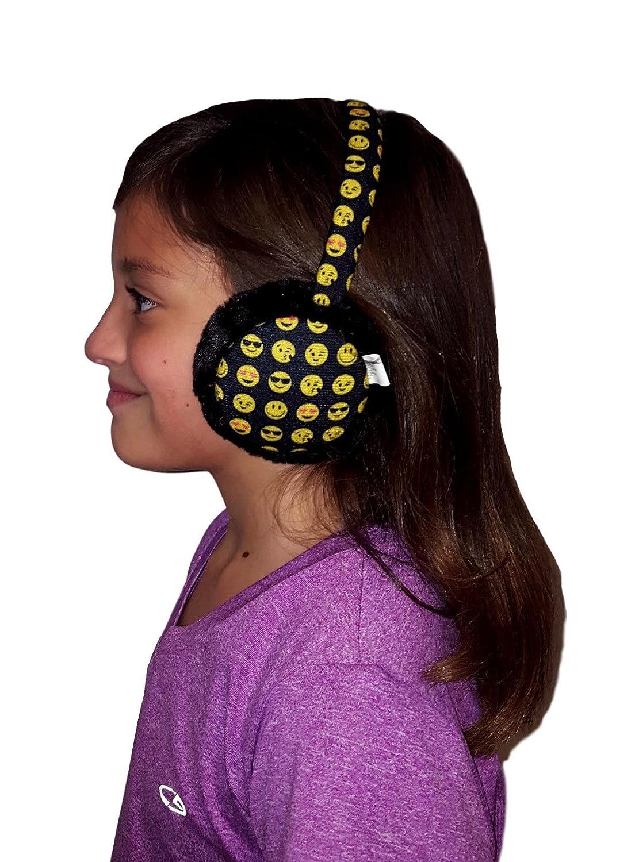Black All Over Kids Plush Icon Face Earmuffs Ear Warmers Winter Ear lap
