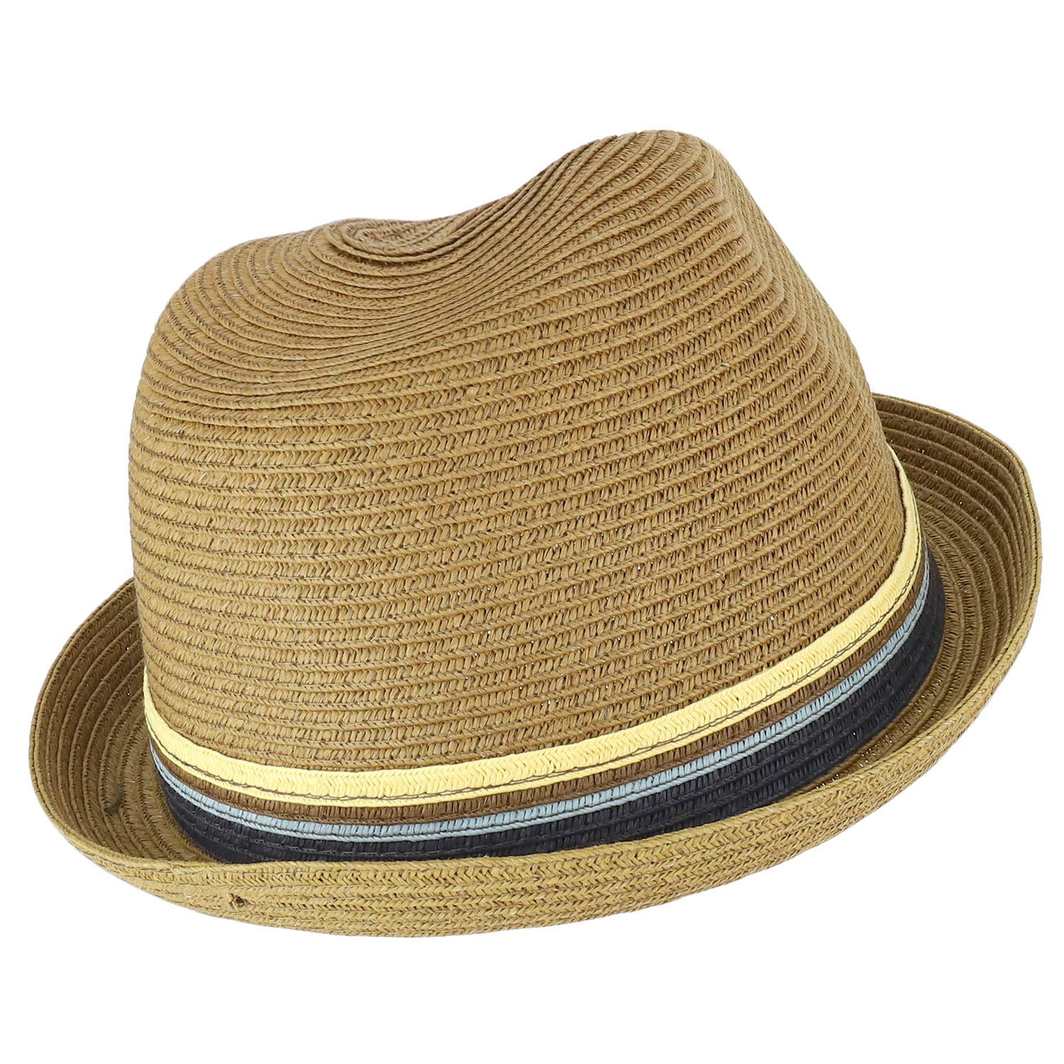 Armycrew Paper Braid Summer Pork Pie Fedora Hat with Tri Color Striped Band
