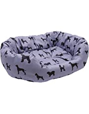 Rosewood DOGS PRINT GREY PADDED OVAL BED/SIZE MEDIUM 68CM