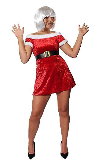 Miss Santa Dress Fancy Dress Costume White Bob Wig Father