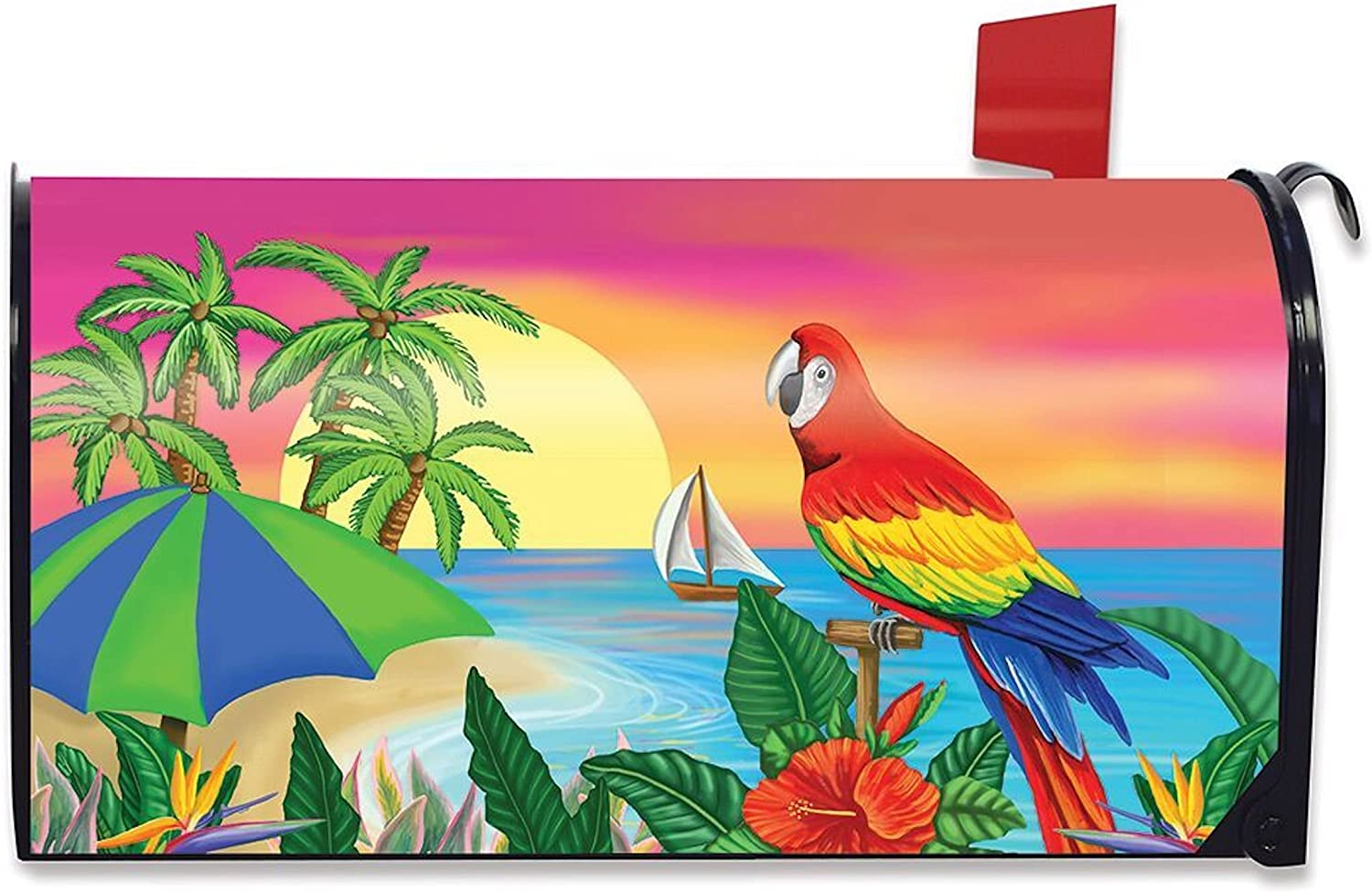 5 O/'clock Parrot Summer Magnetic Mailbox Cover Tropical Beach Humor Standard