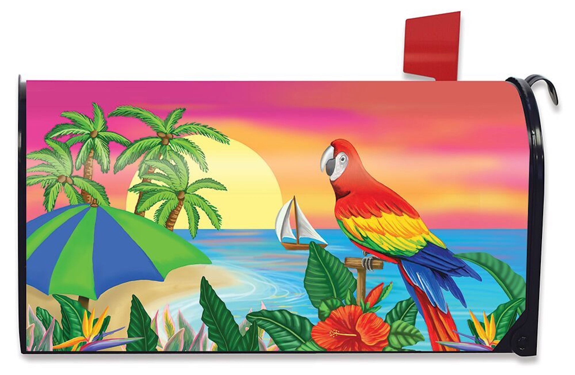 Briarwood Lane Paradise Parrot Summer Mailbox Cover Tropical Island Palms Sailboat Standard