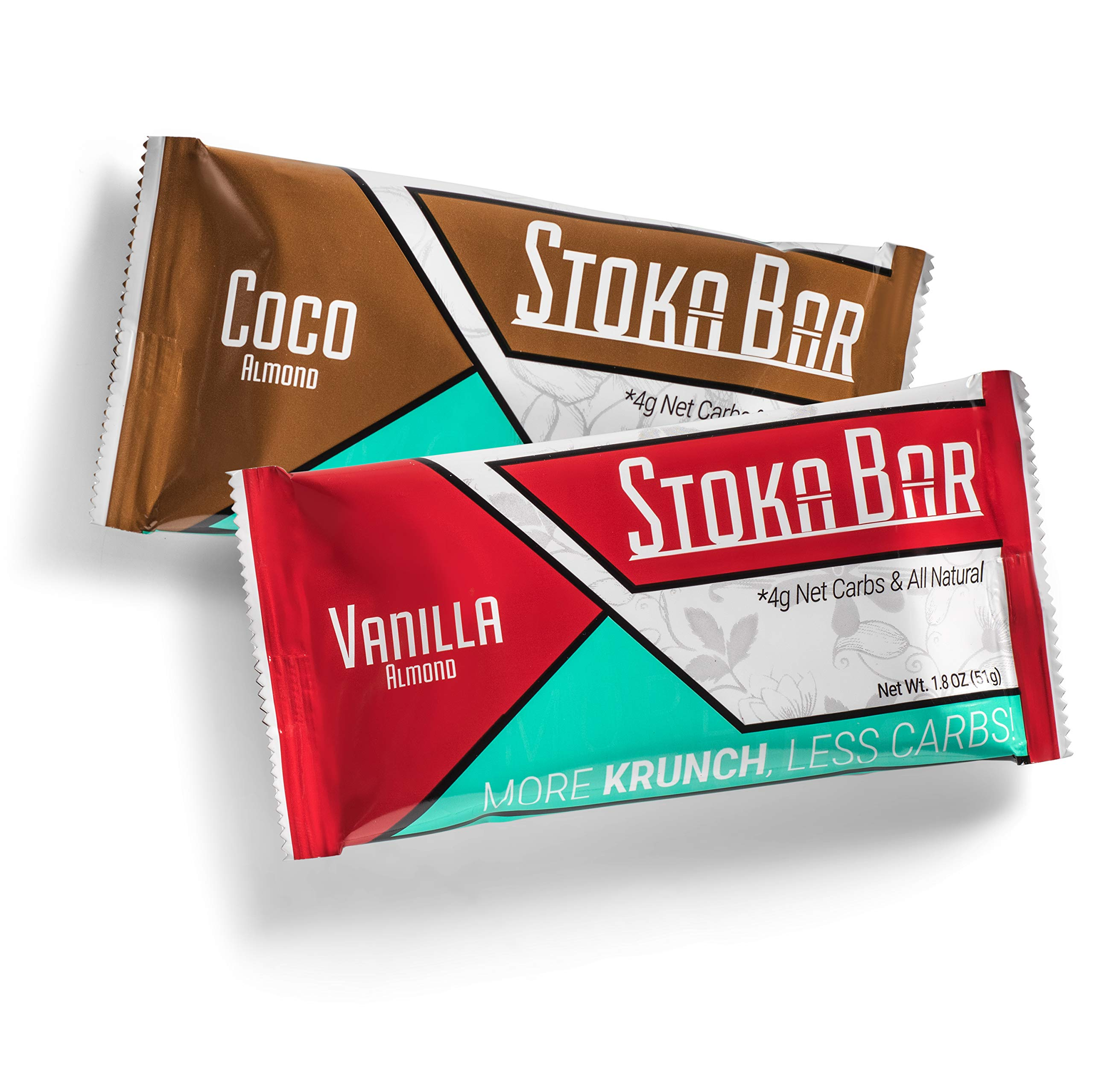 Stoka Bars- Vanilla Almond and Cocoa Almond | All Natural- Low Carb Energy Bar | 4g Net Carbs | 9g Protein | Keto Friendly | Packaging May Vary | 8 Count by Stoka
