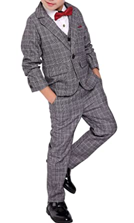 fbdfa4d73 Amazon.com  Fengchengjize Boys 3 Pcs Formal Suit Plaid Dress Suit ...