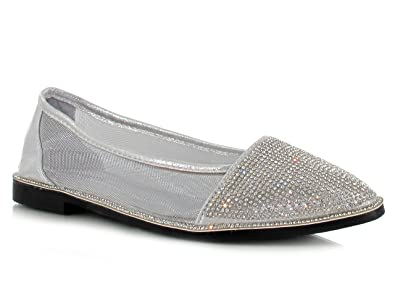 bb3a2c92265e7 Silver Glitter Diamante Mesh Flat Shoes Super Comfy Flats for a Casual  Summer Look Women s Daytime Evening Holiday Footwear  Amazon.co.uk  Shoes    Bags