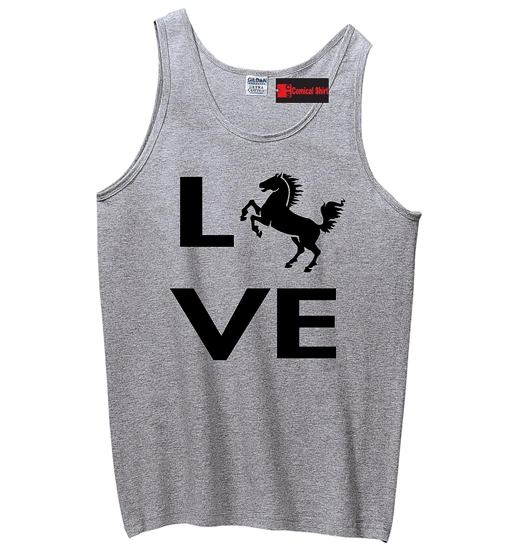 Comical Shirt Men's Love Horse Silhouette Graphic Tee Tank Top