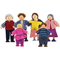 Melissa & Doug 2464 Poseable Wooden Doll Family for Dollhouse, 2-4 inches each, 7 Pieces