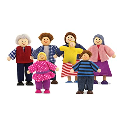 Melissa Doug Wooden Doll Family Pretend Play 7 Pieces