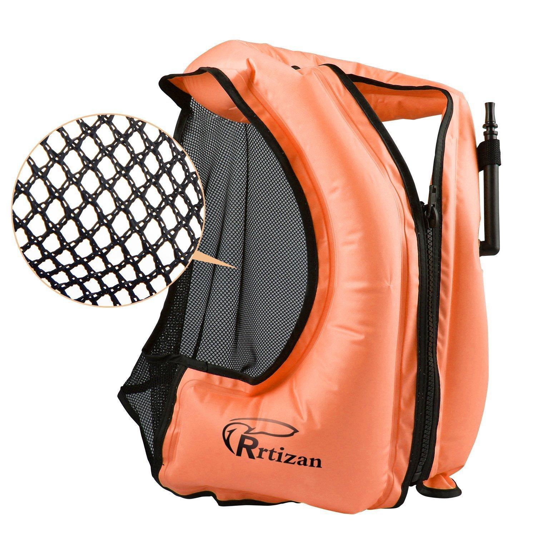 膨張式 Rrtizanライフジャケット 大人用 フローティングベスト ベストタイプ シュノーケリング … 超浮力 インフレータブル 救命胴衣 用